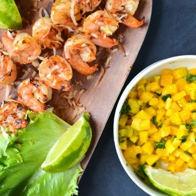 Grilled Shrimp Lettuce Wraps with Sweet Chili Sauce, Mango, and Toasted Coconut