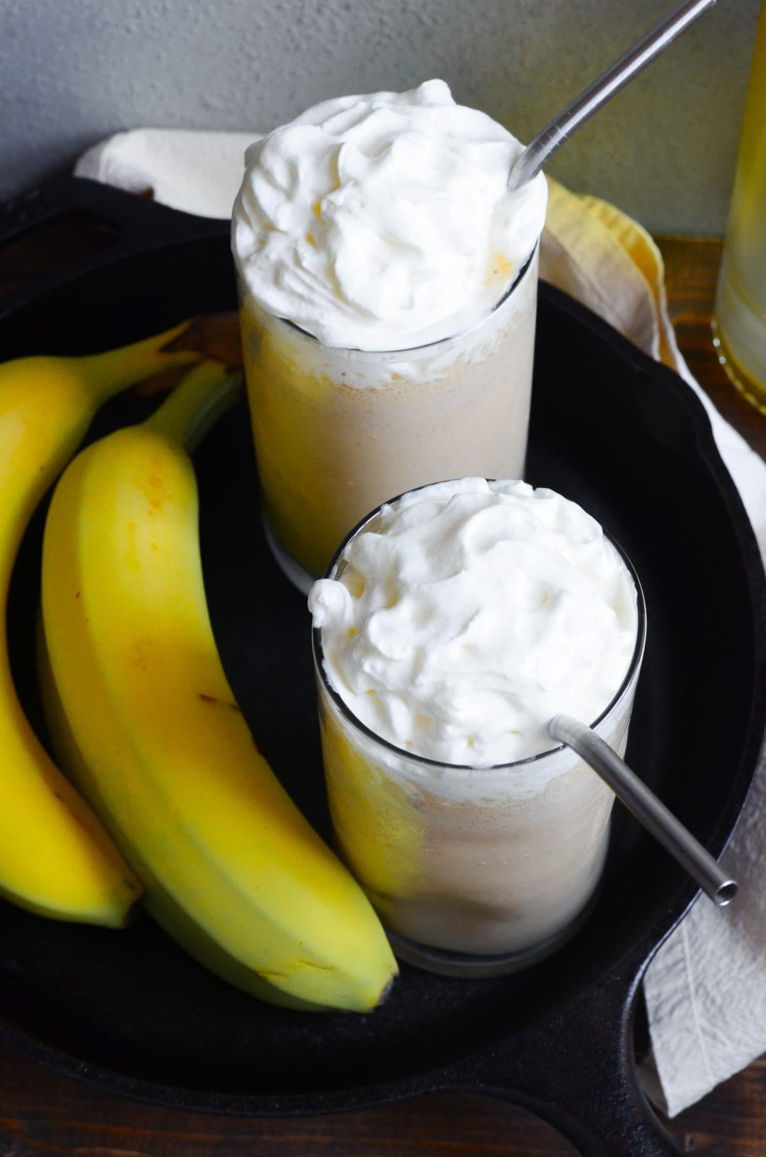 Boozy Bananas Foster Milkshakes