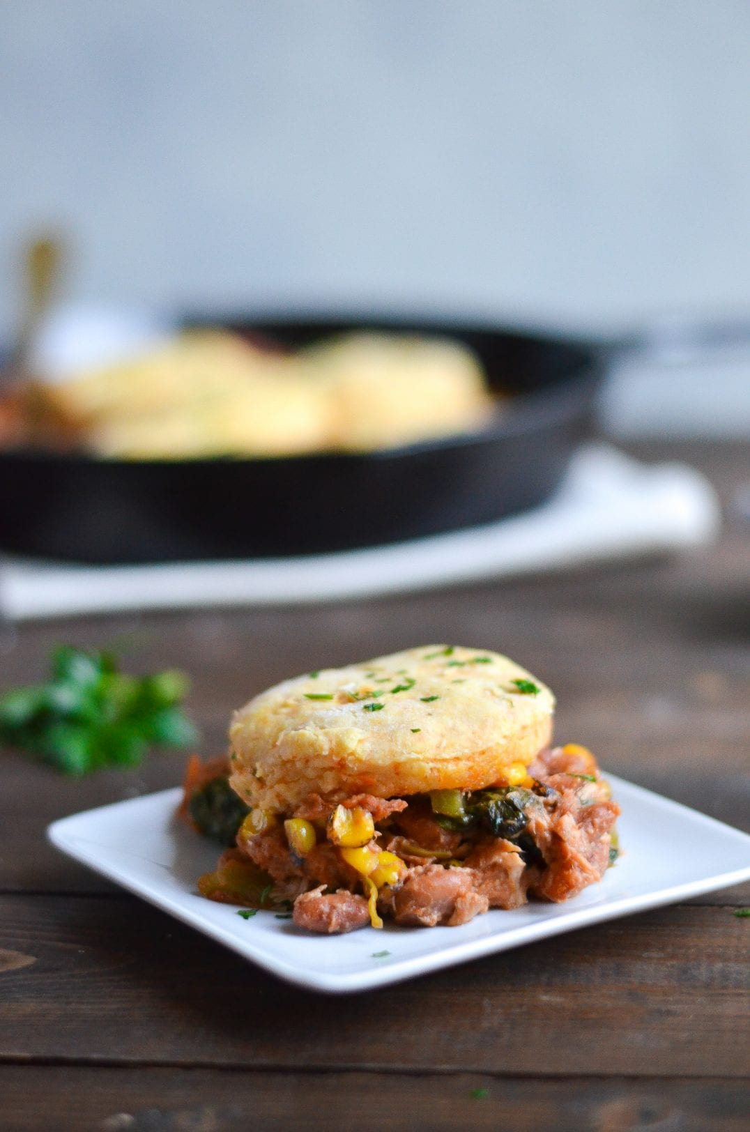 BBQ Pulled Chicken Pot Pie with Sweet Potato Biscuit Topping