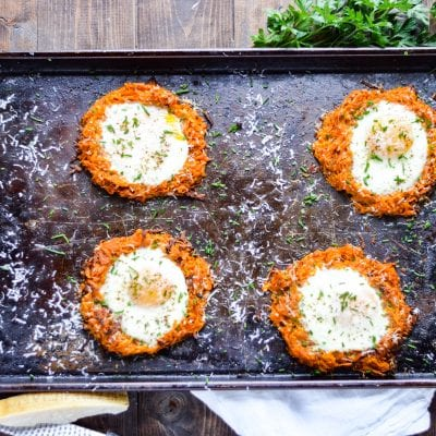 Sheet Pan Eggs and Sweet Potato Hash Brown Nests