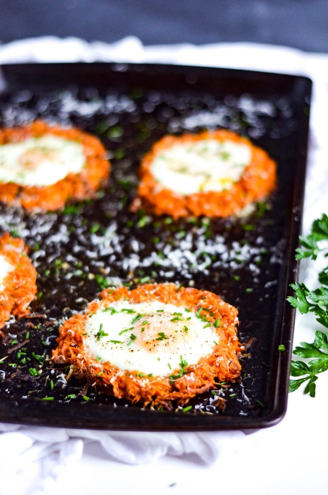 Sheet Pan Eggs and Sweet Potato Hash Brown