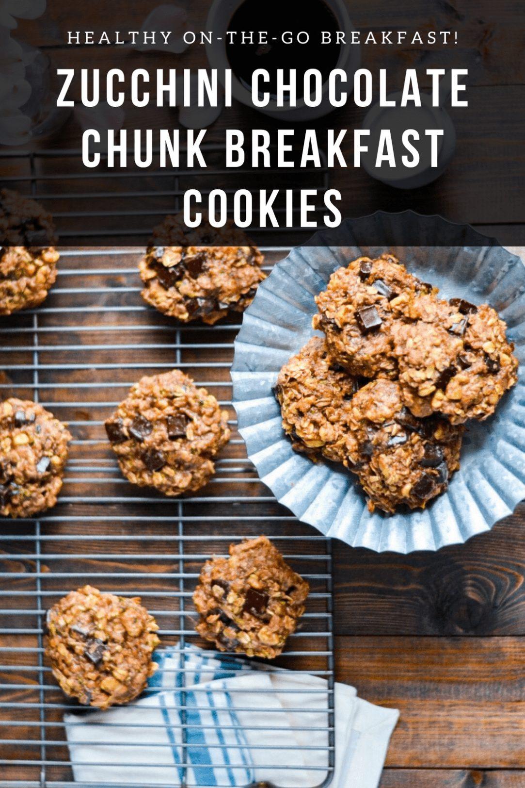 Zucchini Chocolate Chunk Breakfast Cookies on a cooking rack.