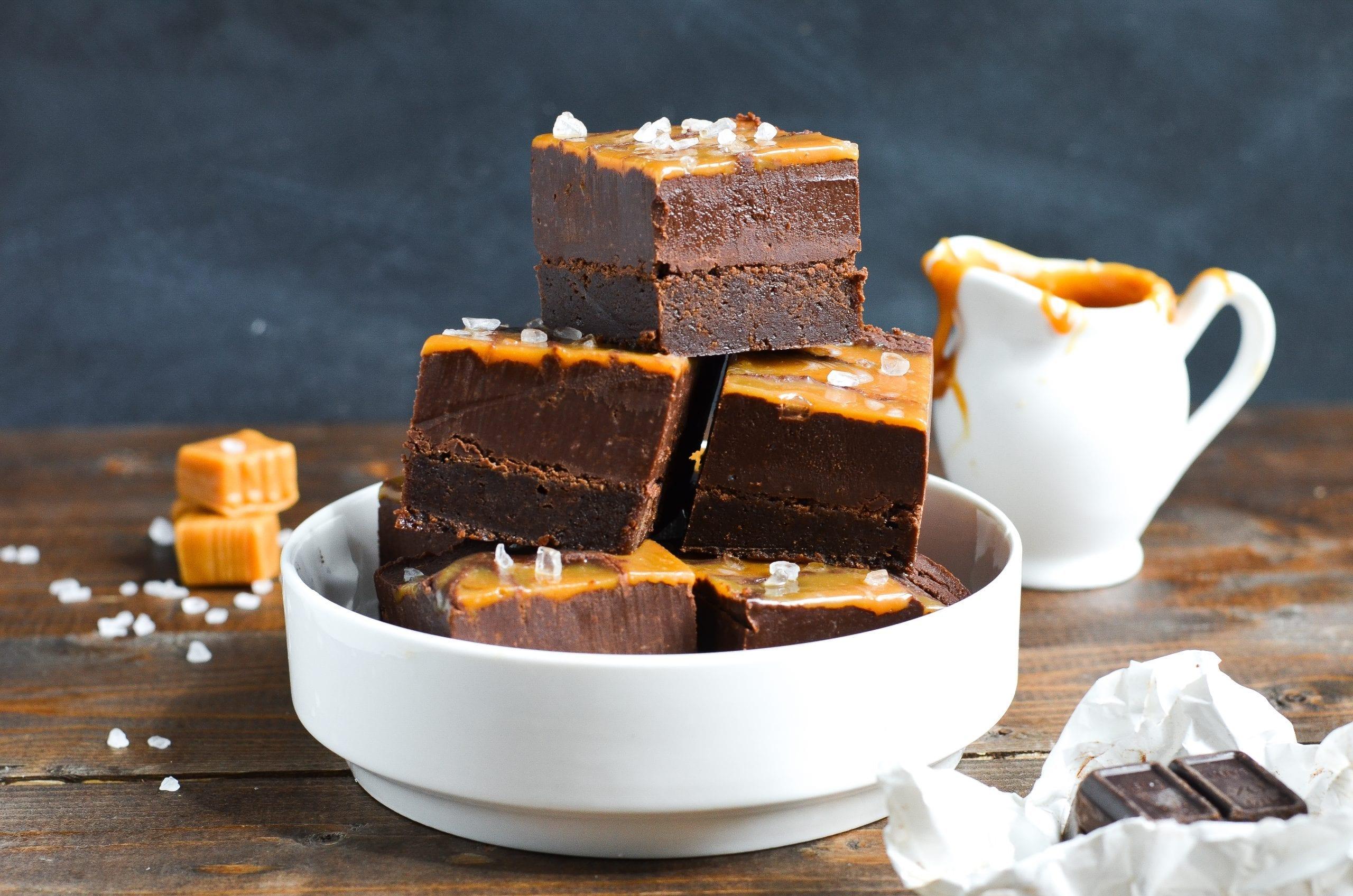 Chocolate Fudge Caramel Swirl Brownies