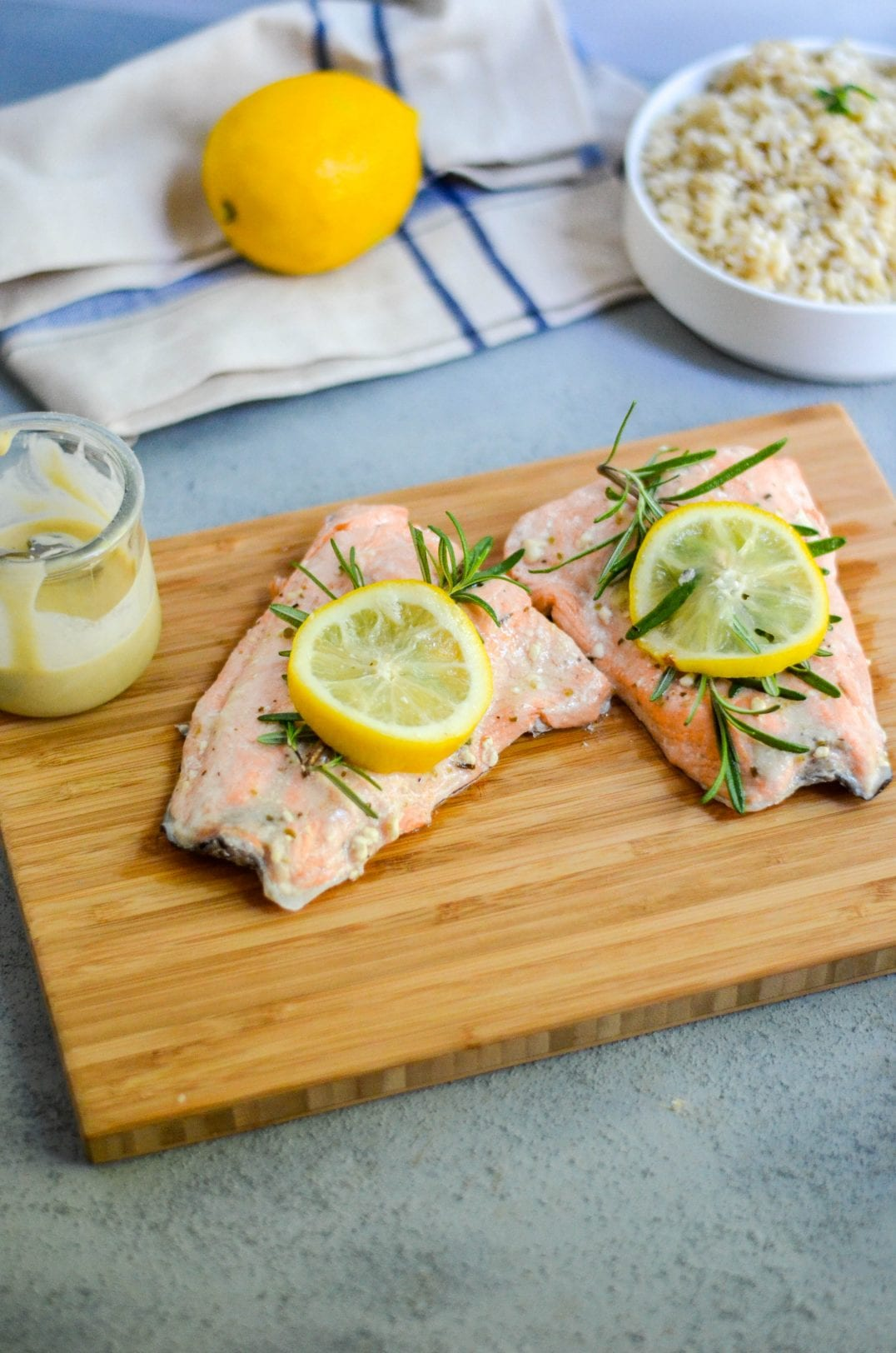 Instant Pot Mediterranean Salmon with Tahini Lemon Sauce