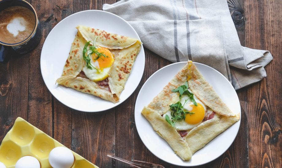 Cheesy Country Ham and Egg Crepes