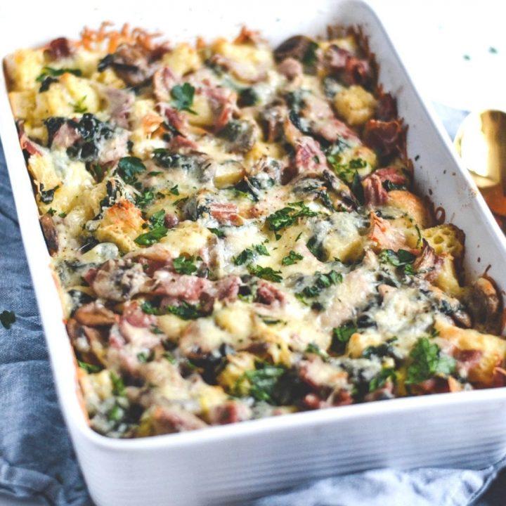 Ham, Mushroom and Spinach Strata