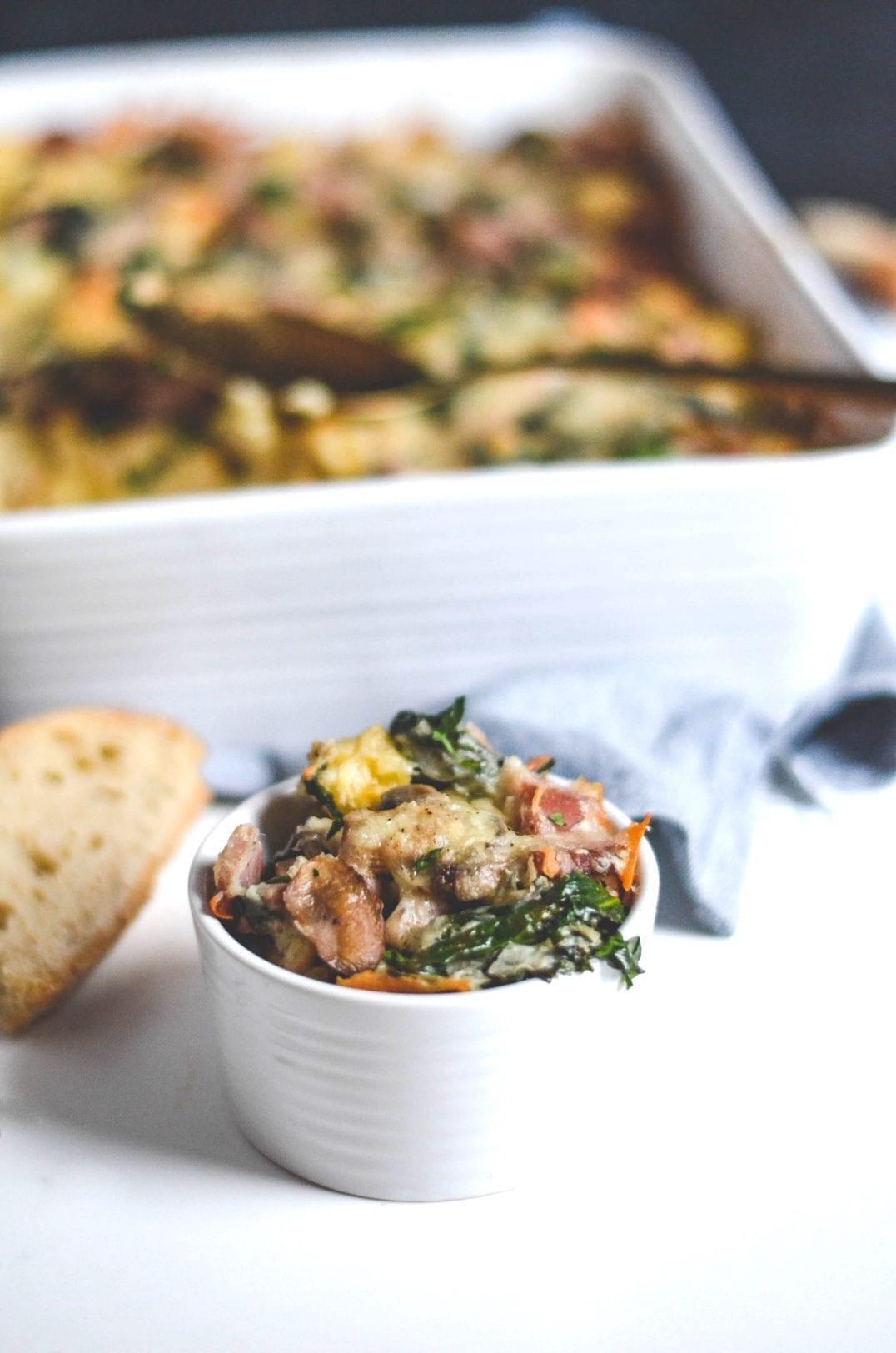 ham, spinach, mushroom, strata in a casserole dish
