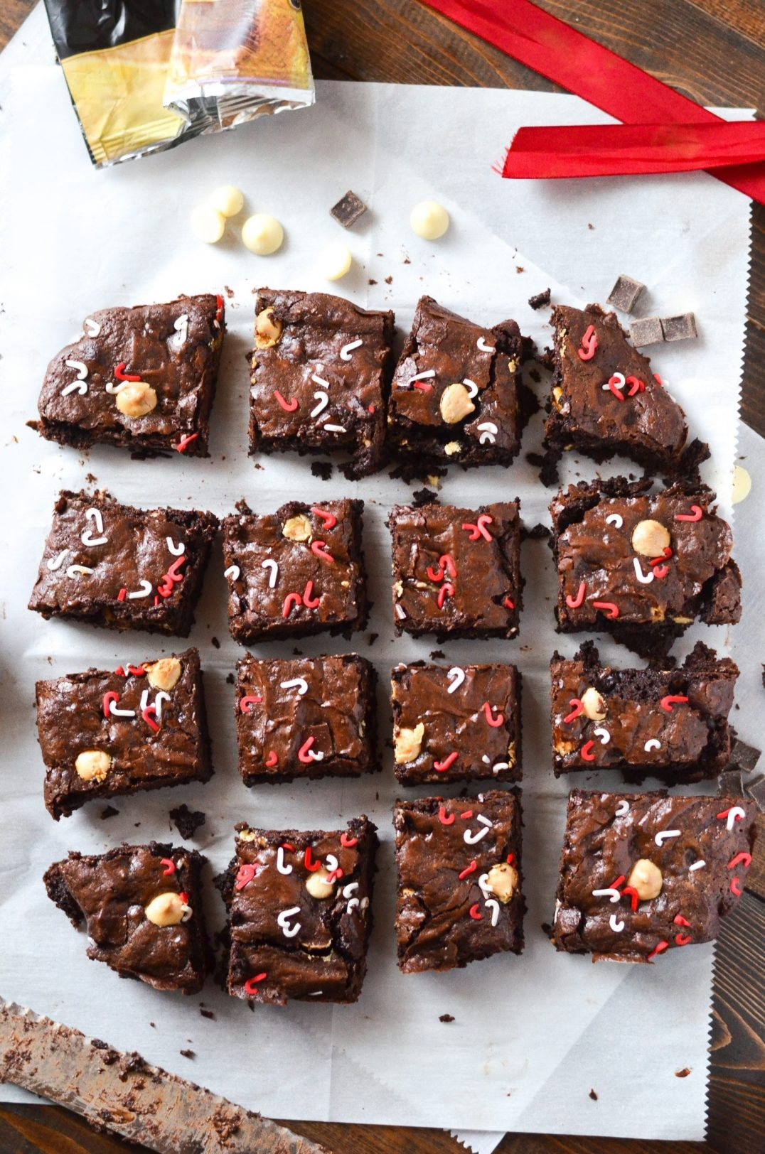 chocolate peppermint brownies cut into squares