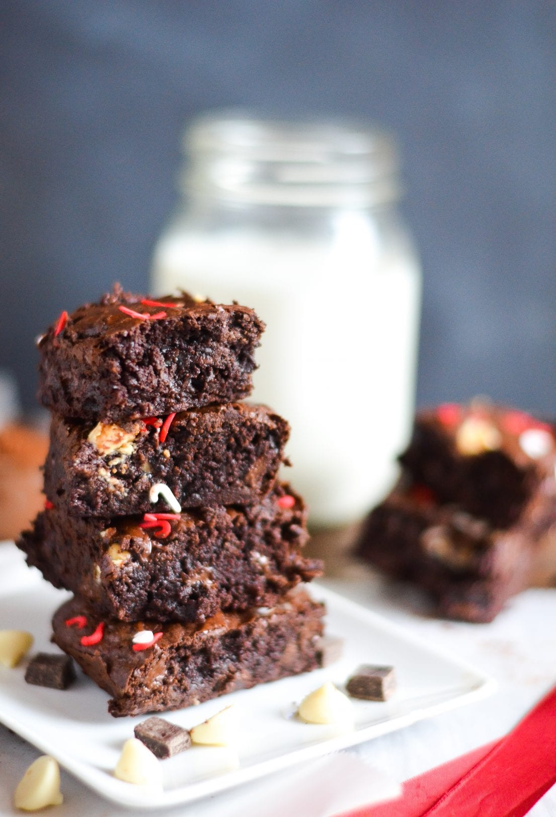 chocolate peppermint brownies stacked on plate