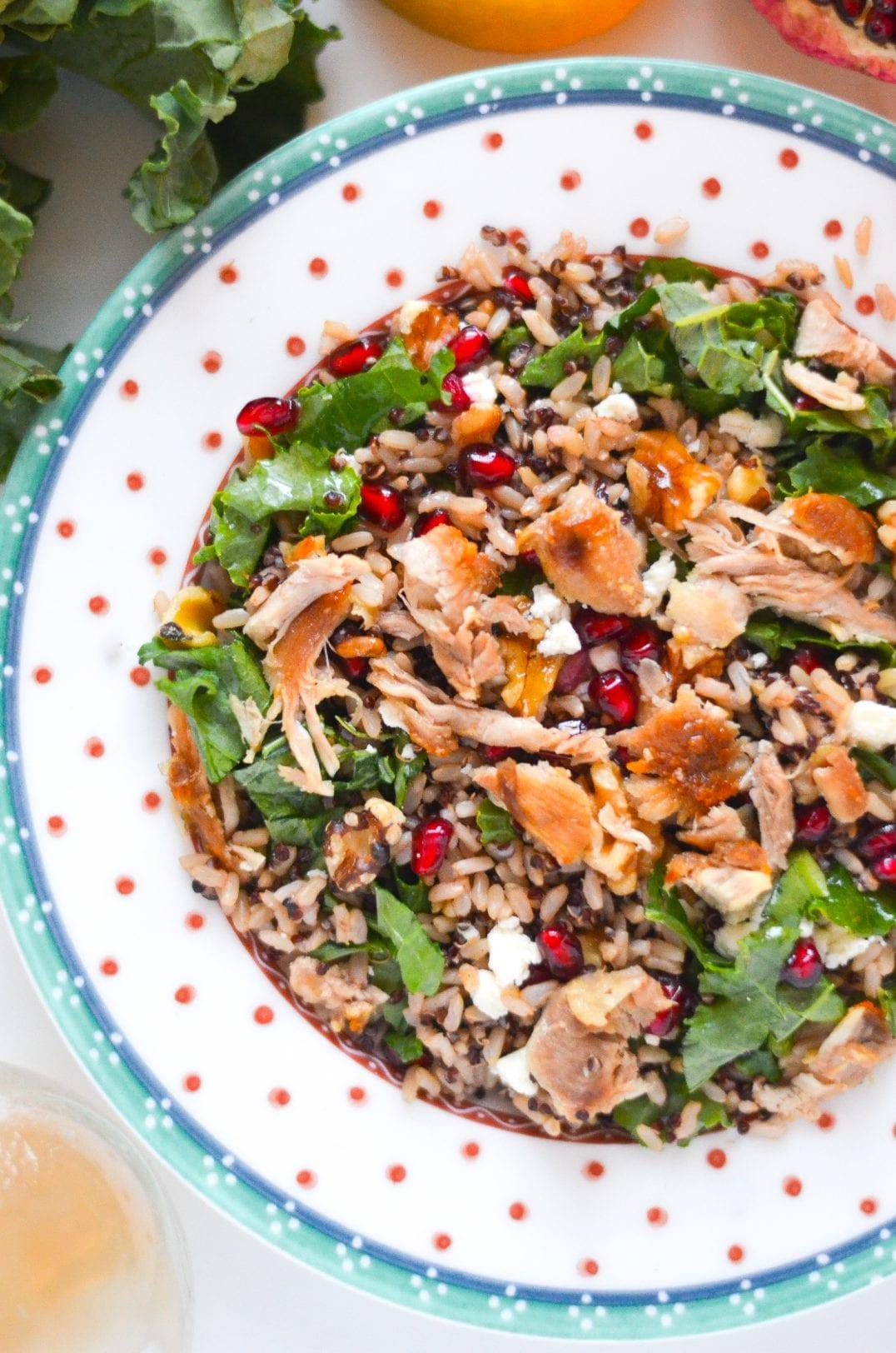 Winter Brown Rice and Quinoa Salad with Lemon Maple Vinaigrette