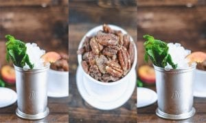 Peach Mint Julep + Candied Bourbon Vanilla Pecans