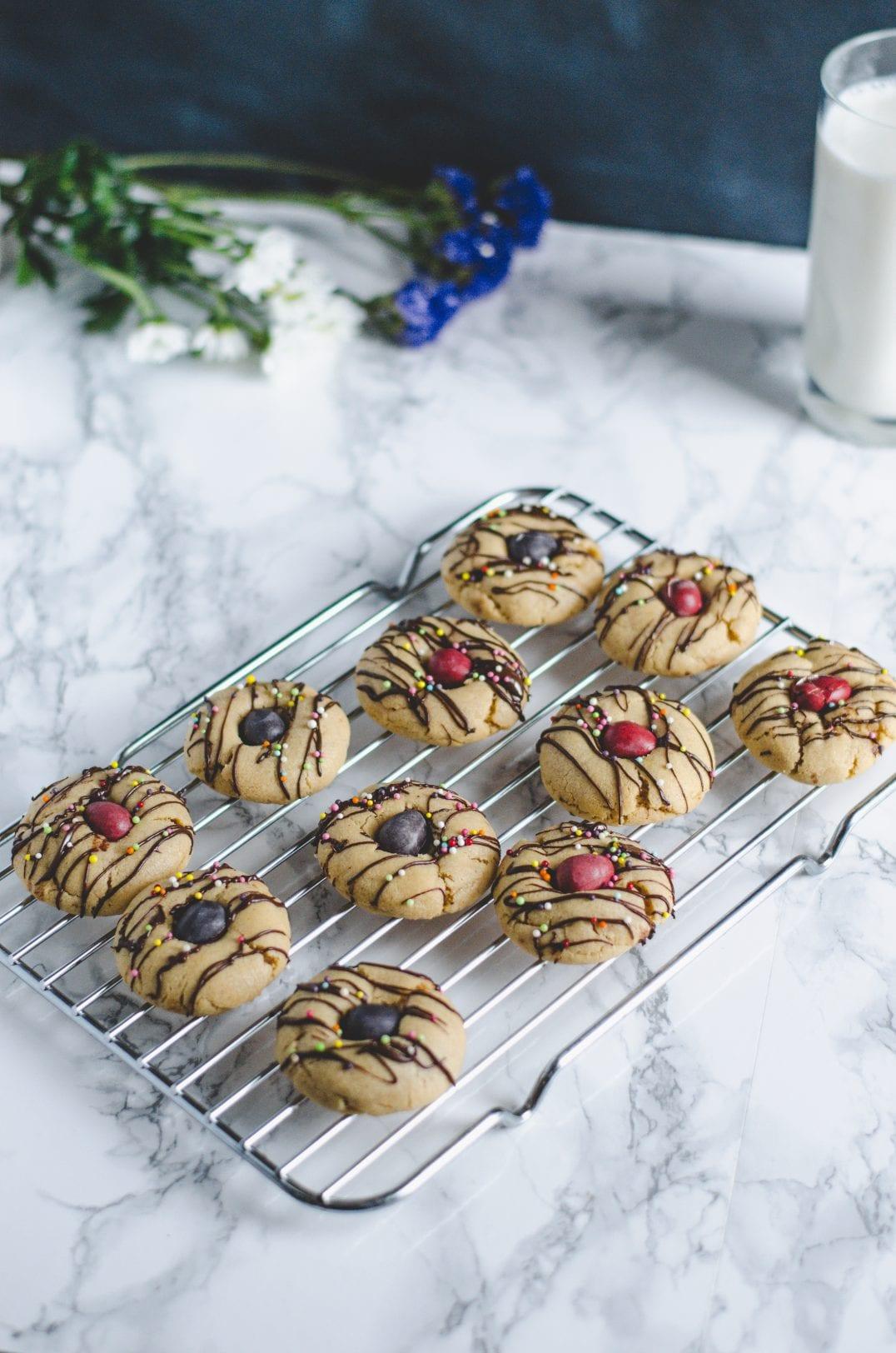 Peanut Butter Mini Egg Thumbprint Cookies