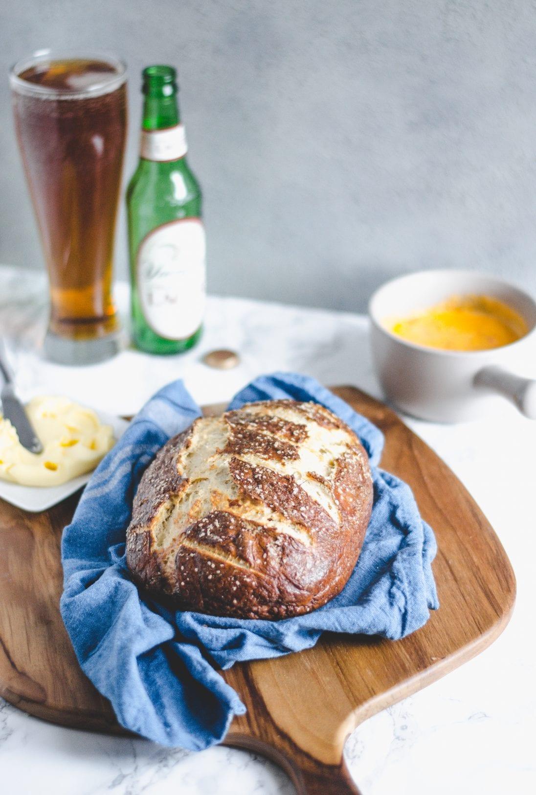 pretzel bread laying on a towel