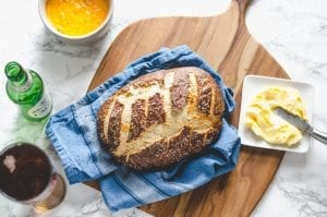 Pretzel Bread with Pimento Beer Cheese