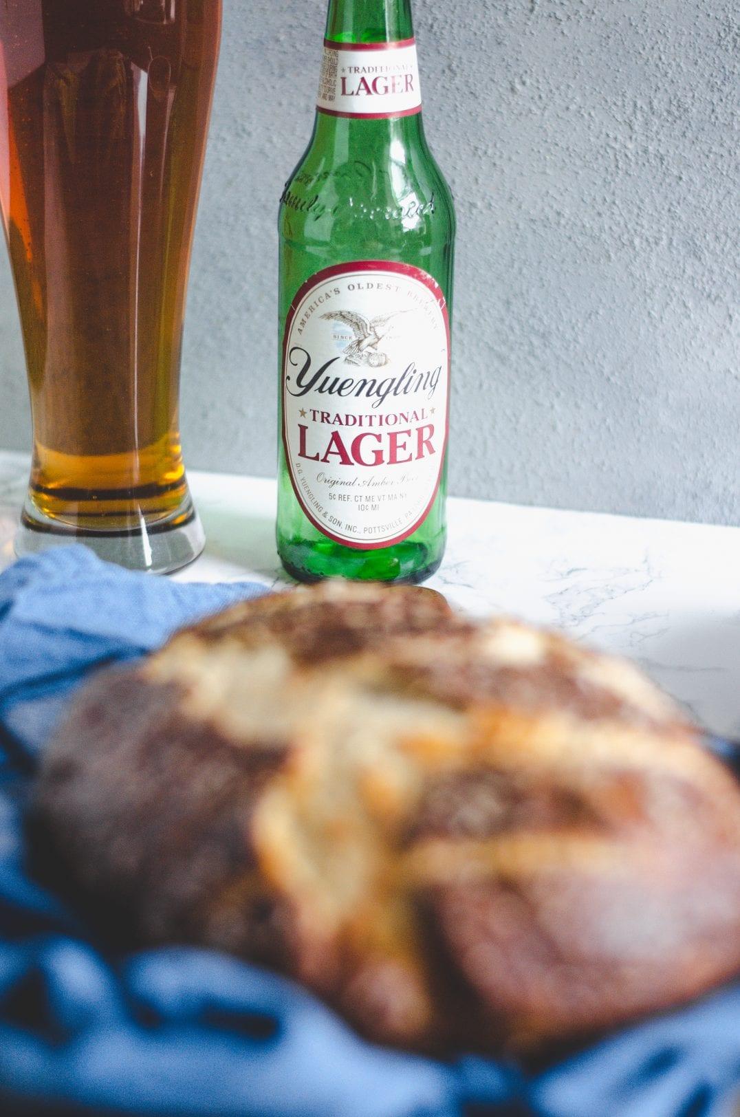 Pretzel Bread with Pimento Beer Cheese