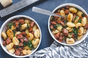 Gnocchi with Sun-Dried Tomatoes, Sausage, and Kale