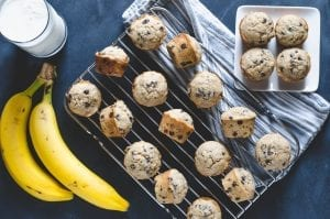 Wheat Banana Chocolate Chip Mini Muffins