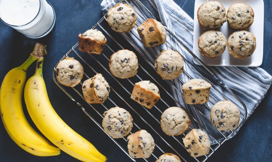 Wheat Banana Chocolate Chip Mini Muffins