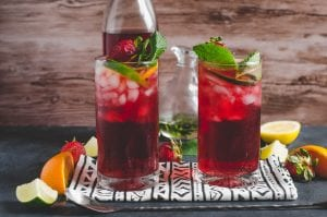 Fruity Hibiscus Mint Iced Tea