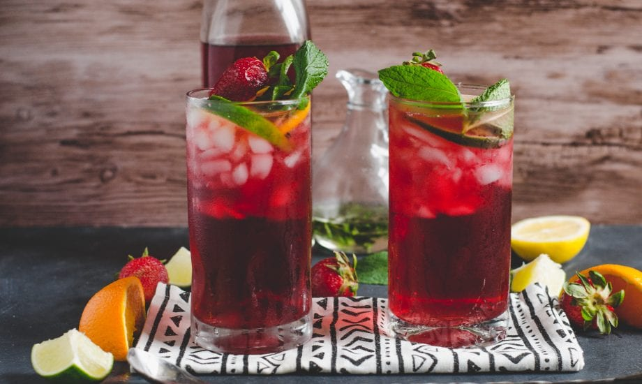 Fruity Hibiscus Mint Iced Tea