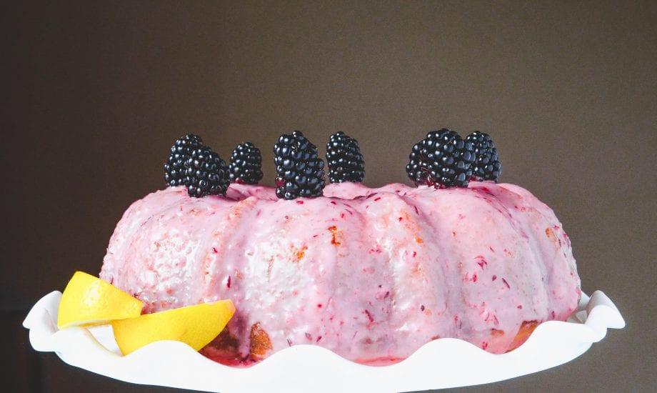 Lemon Bundt Cake with Cranberry Orange Glaze