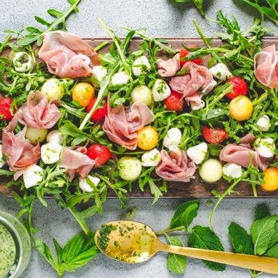 Melon Prosciutto Salad with Mint Basil Vinaigrette
