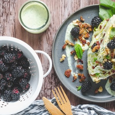 Wedge Salad with Candied Bacon, Walnuts, Blackberries & Basil Ranch