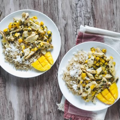 Coconut Rice with Easy for You Mango Chicken