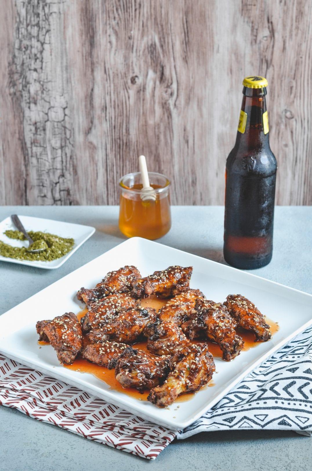 Honey Za'atar Hot Wings on a plate