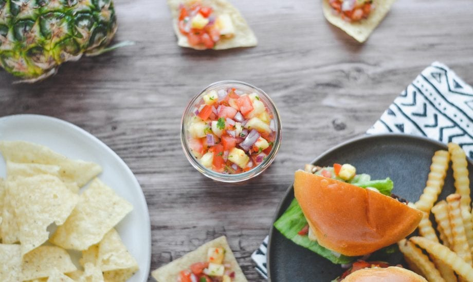 Grilled Pineapple Salsa and Plant-Based Burger
