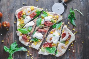 Summer Shrimp and Sweet Corn Grilled Pizza