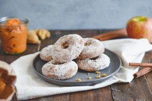 Baked Apple Cinnamon Powdered Pumpkin Donuts