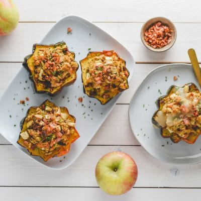Acorn Squash Stuffed with Chicken Apple Stuffing