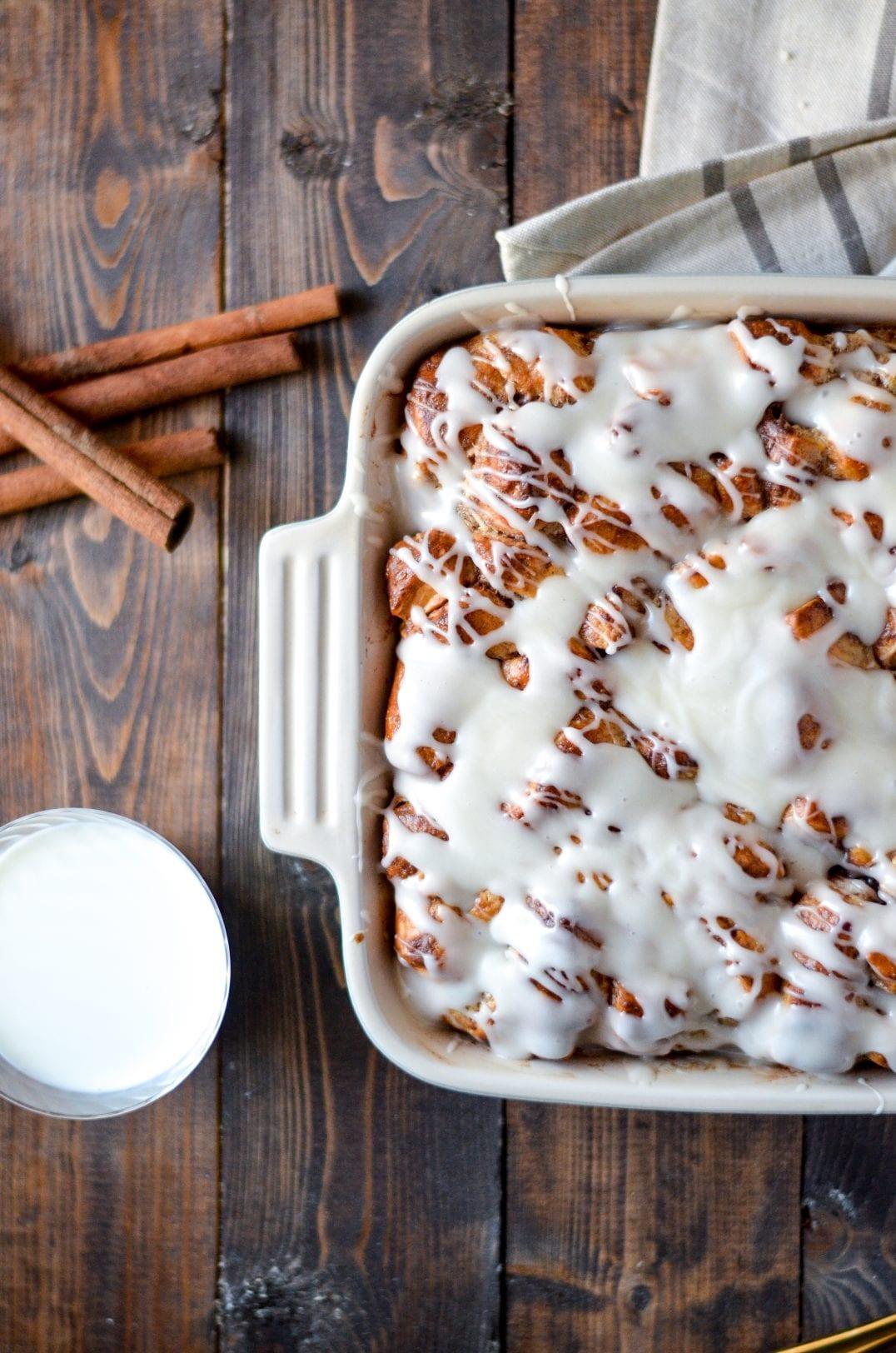 cinnamon roll breakfast bake in baking dish