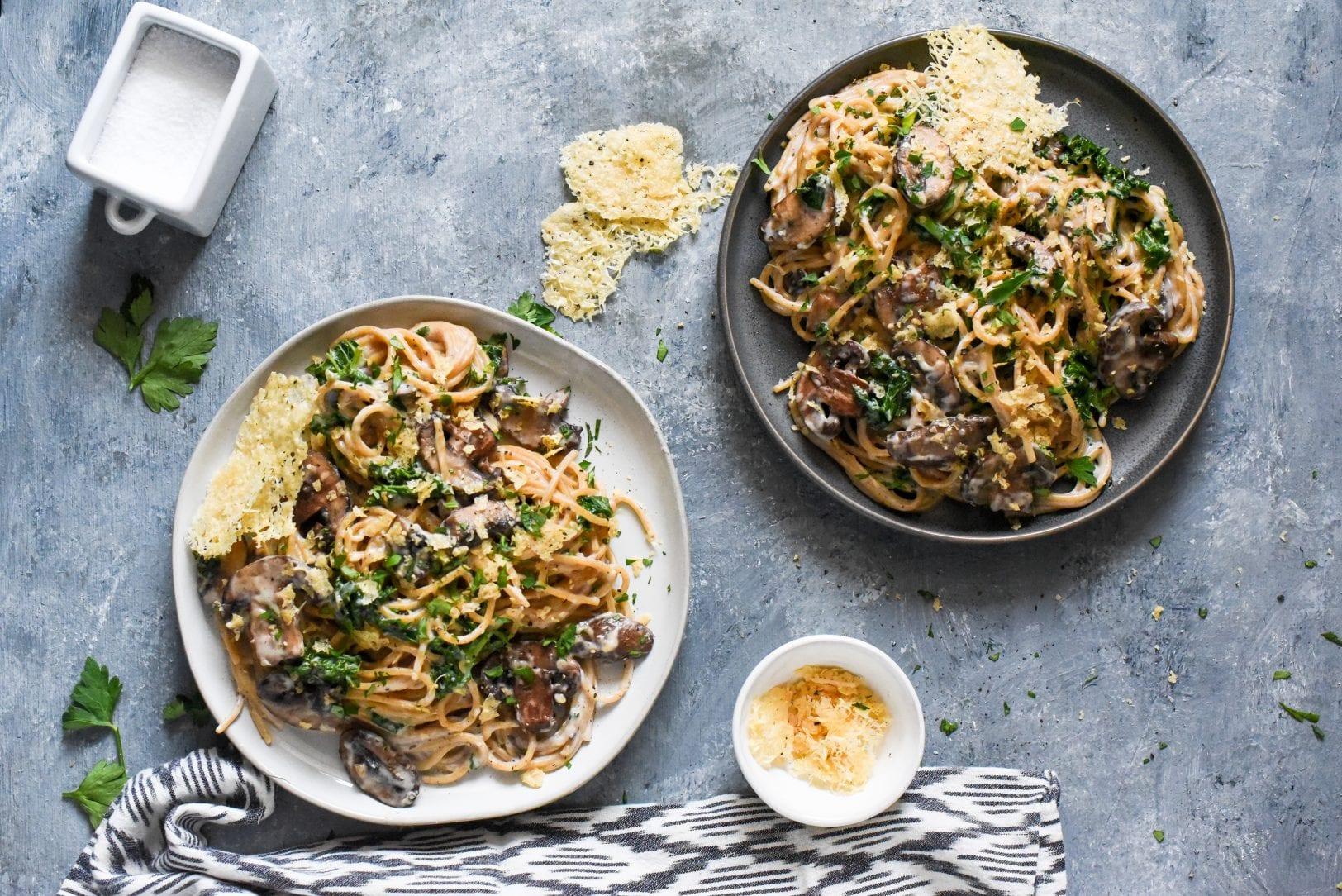 Weeknight Creamy Mushroom Kale Pasta