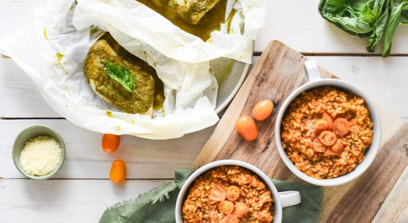 Pesto Cod en Papillote with Tomato Risotto