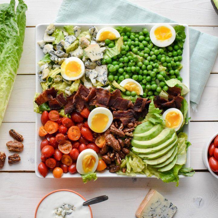 Spring Pea Cobb Salad with Glazed Pecans