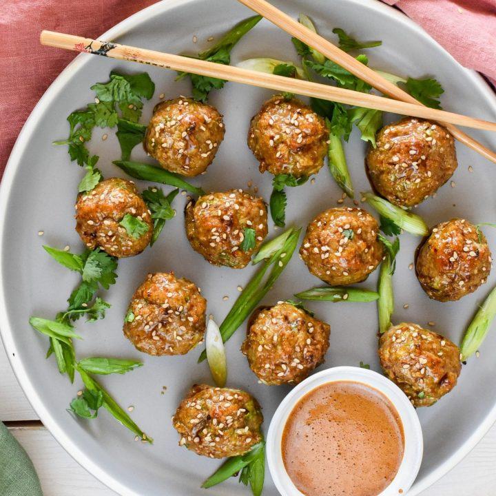 Mango Ginger Turkey Meatballs with Honey-Soy Glaze