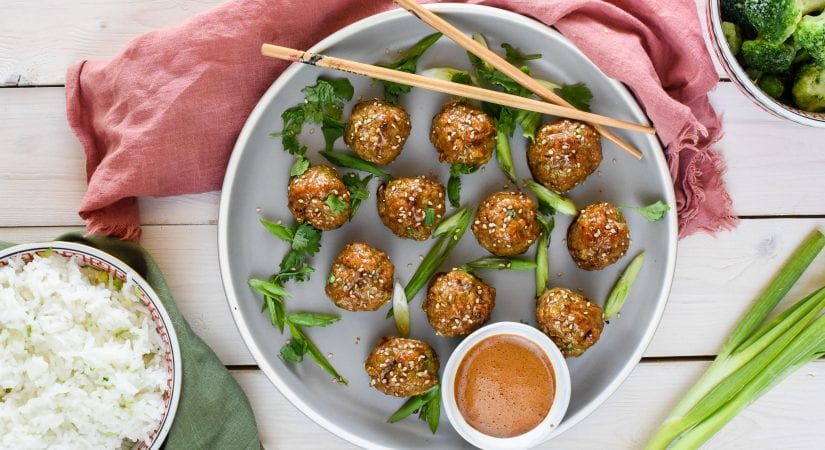 Mango Ginger Turkey Meatballs with Honey-Soy Glaze