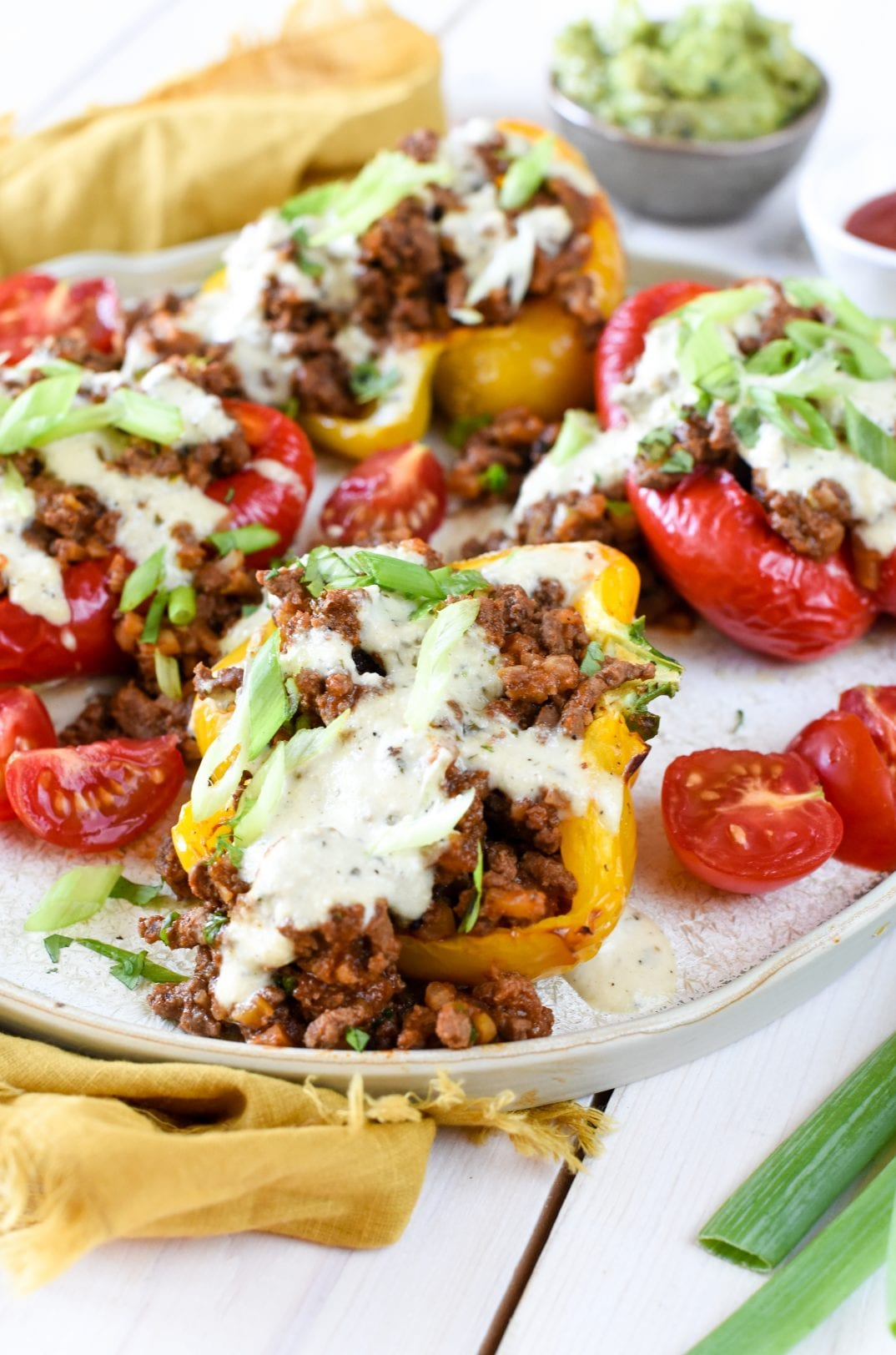 Healthy Whole30 Stuffed Peppers with Avocado Cashew Sauce