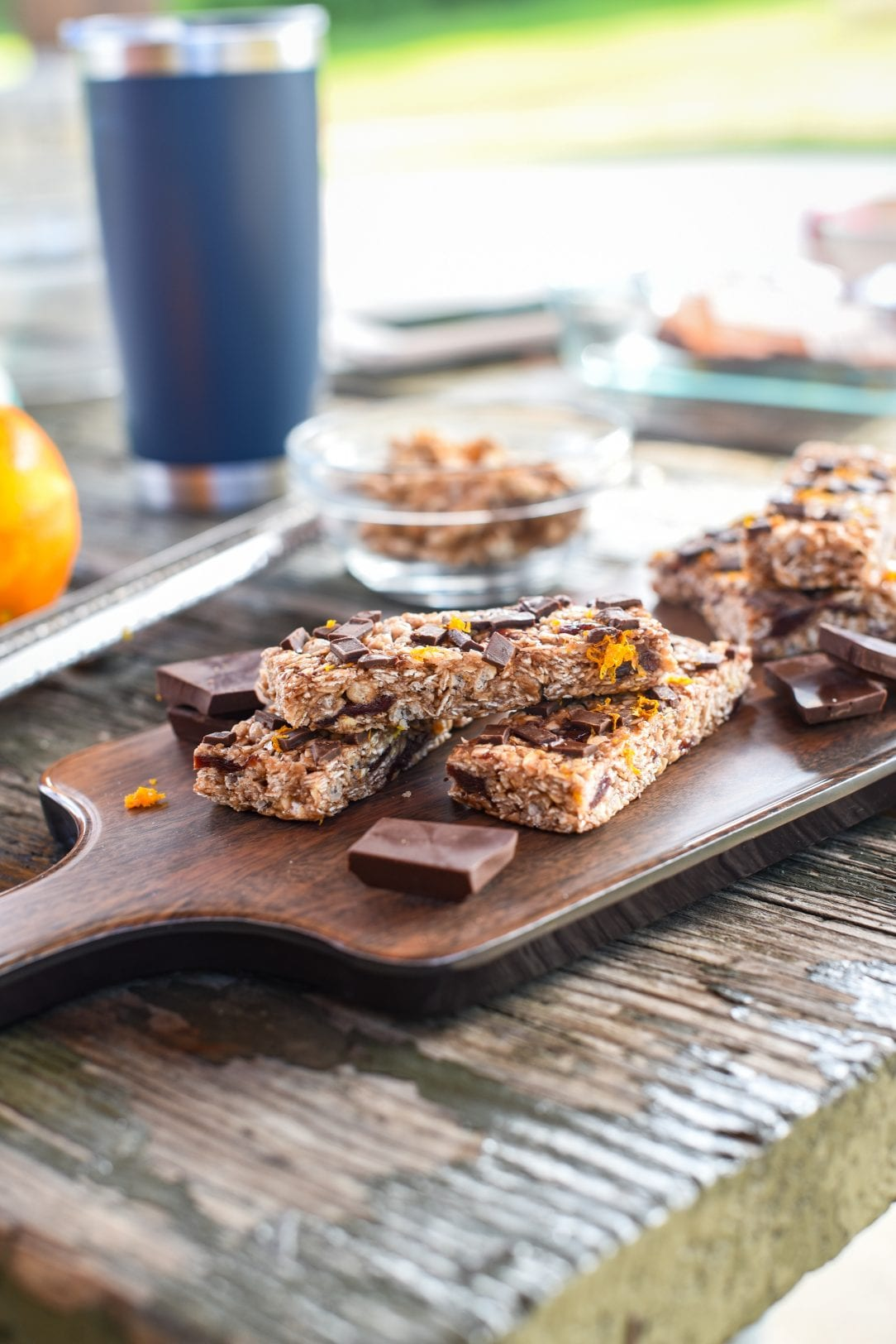 granola bars stacked on a serving platter