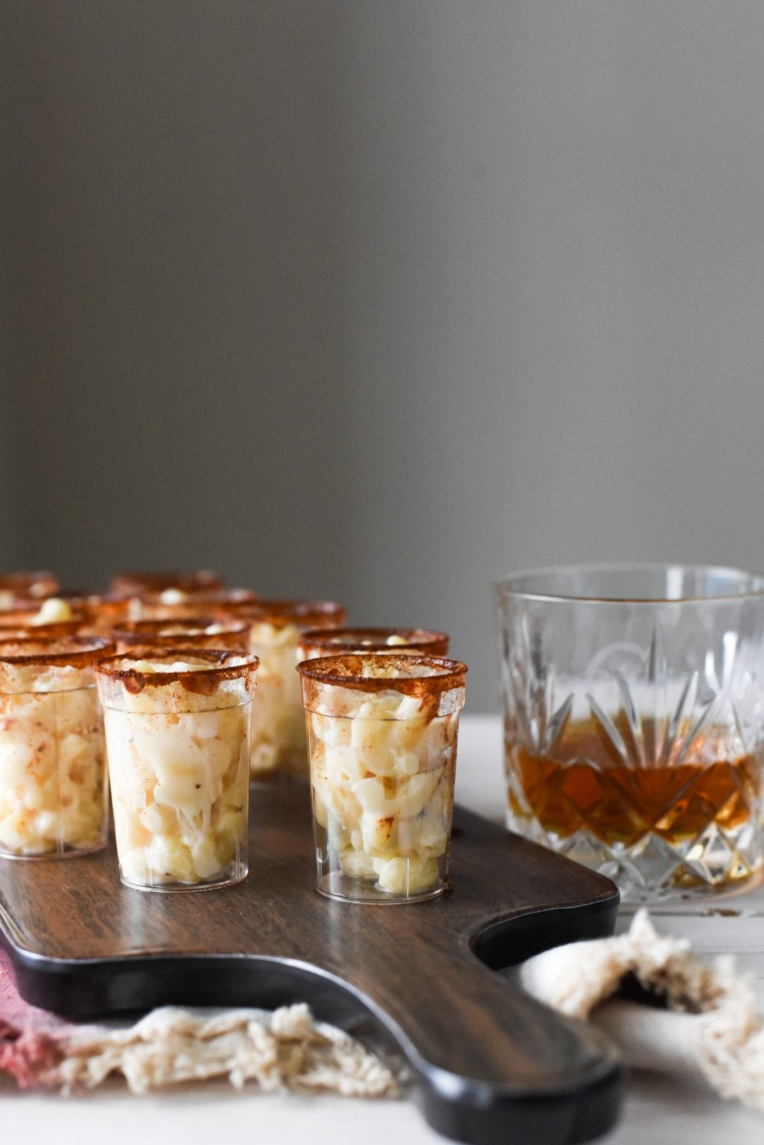 macaroni in shot glasses