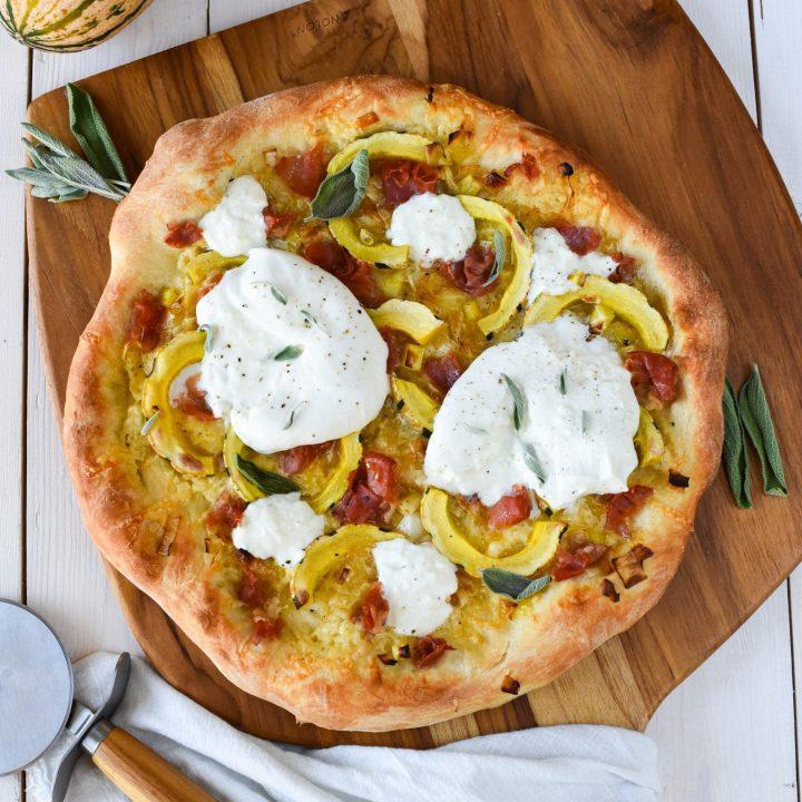 Leek and Delicata Pizza with Burrata
