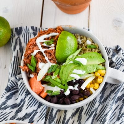 BBQ Pulled Pork Rice Bowls with Sweet Potatoes, Black Beans & Corn