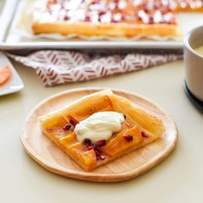 Persimmon Pomegranate Tart with Maple Mascarpone