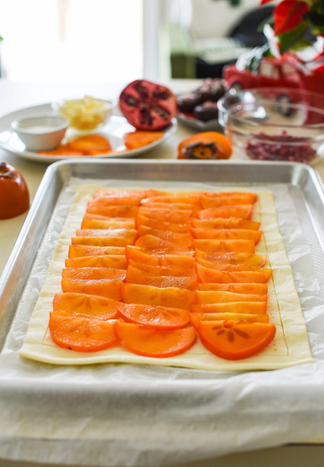 Persimmon Pomegranate Tart with Maple Mascarpone