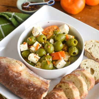 Citrus Marinated Olives and Feta