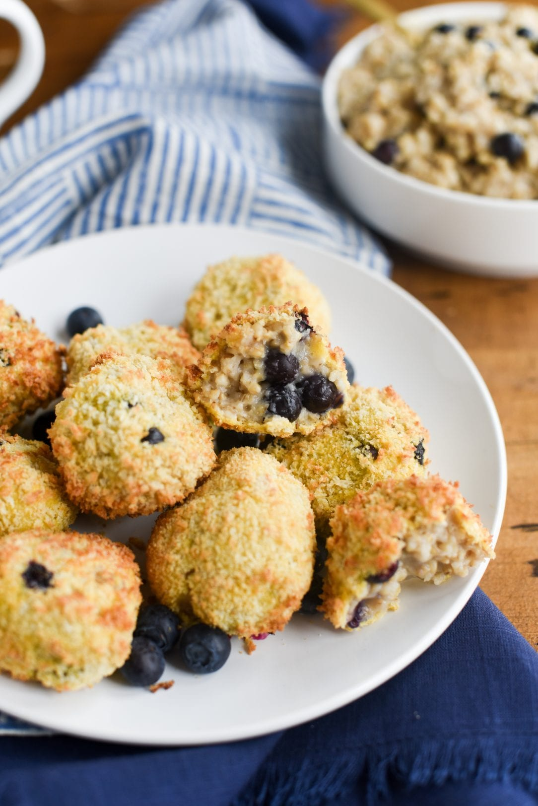 oatmeal blueberry balls in serving plate