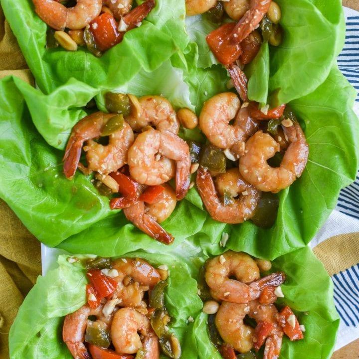 Kung Pao Shrimp Lettuce Wraps