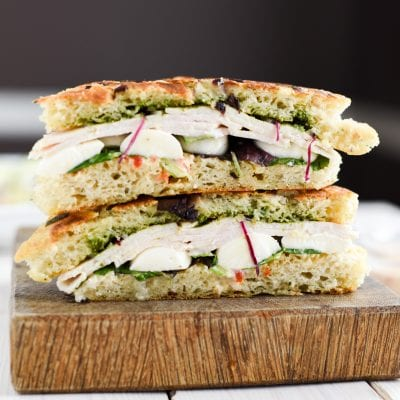 Pesto Turkey Panini with Red Pepper Aioli